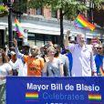 Le maire de New York Bill de Blasio avec sa femme Chirlane McCray, Cynthia Nixon et Al Sharpton à la Gay Pride de New York, le 26 juin 2016. © CPA/Bestimage