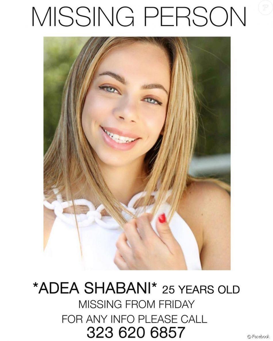 Adea Shabani, jeune Macédonienne de 25 ans, avait déménagé à Los Angeles pour tenter sa chance en tant qu'actrice. Portée disparue depuis le 23 février 2018, elle avait été vue pour la dernière fois avec son petit ami Chris Spotz, également acteur. Le 22 mars, celui-ci s'est donné la mort en se tirant une balle dans la tête après une course-poursuite avec la police. Des restes ont été retrouvés le 27 mars dans le Nevada, ceux-ci appartiendraient à Adea Shabani selon la police.