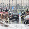 Arrivée du convoi funéraire du lieutenant-colonel de gendarmerie Arnaud Beltrame, mort après avoir pris la place d'une otage civile au supermarché Super U à Trèbes, aux Invalides à Paris. Le 28 mars 2018