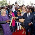 """Exclusif - Alassane Ouattara (Président de la République de Côte d'Ivoire) et sa femme la Première Dame Dominique Ouattara avec Aissata Issoufou Mahamadou (Première Dame du Niger) et la princesse Ira de Fürstenberg, Daniel Kablan Duncan (Premier Ministre Ivoirien) - Inauguration de l'hôpital Mère-Enfant de Bingerville (une banlieue d'Abidjan) financé par la fondation """"Children of Africa"""" en Côte d'Ivoire, le 16 mars 2018. Créée par Madame D. Ouattara, (aujourd'hui Première Dame de Côte d'Ivoire), la Fondation """"Children of Africa"""" est une organisation non gouvernementale reconnue d'utilité publique. Son principal objectif est de prendre soin des enfants les plus démunis du continent africain, et de leur permettre d'accéder à de meilleures conditions de vie, grâce à des actions sociales constantes. La Fondation intervient dans les domaines de la santé, de l'éducation et du social en Côte d'Ivoire et dans 10 autres pays d'Afrique, dans lesquels elle subventionne des centres d'aide à l'enfance. © Dominique Jacovides/Bestimage For Germany call for price No web/No blog pour Belgique/Suisse Exclusive - People are attending the inauguration of the Mother-Child Hospital on March 16, 2018 in Bingerville, a suburb of Abidjan. The hospital was financed by an NGO Children of Africa of Ivorian First Lady D. Ouattara.16/03/2018 - Bingerville"""