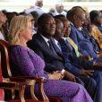 """Exclusif - Alassane Ouattara (Président de la République de Côte d'Ivoire) et sa femme la Première Dame Dominique Ouattara, Daniel Kablan Duncan (Premier Ministre Ivoirien) - Inauguration de l'hôpital Mère-Enfant de Bingerville (une banlieue d'Abidjan) financé par la fondation """"Children of Africa"""" en Côte d'Ivoire, le 16 mars 2018. Créée par Madame D. Ouattara, (aujourd'hui Première Dame de Côte d'Ivoire), la Fondation """"Children of Africa"""" est une organisation non gouvernementale reconnue d'utilité publique. Son principal objectif est de prendre soin des enfants les plus démunis du continent africain, et de leur permettre d'accéder à de meilleures conditions de vie, grâce à des actions sociales constantes. La Fondation intervient dans les domaines de la santé, de l'éducation et du social en Côte d'Ivoire et dans 10 autres pays d'Afrique, dans lesquels elle subventionne des centres d'aide à l'enfance. © Dominique Jacovides/Bestimage For Germany call for price No web/No blog pour Belgique/Suisse Exclusive - People are attending the inauguration of the Mother-Child Hospital on March 16, 2018 in Bingerville, a suburb of Abidjan. The hospital was financed by an NGO Children of Africa of Ivorian First Lady D. Ouattara.16/03/2018 - Bingerville"""