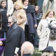 Katia Tchenko et Jean-Paul Scarpitta - Sorties des obsèques de Stéphane Audran en l'église Saint-Roch à Paris. Le 3 avril 2018