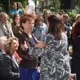 Véronique Colucci et Anne Hidalgo - Célébrités lors de l'inauguration de la place Georges Moustaki parvis de l'église St Médard à Paris le 23 mai 2017