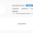 """""""Aucune publication"""", le compte Instagram de Kendji girac est vide, le 12 avril 2018."""
