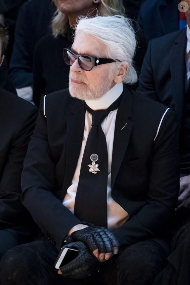 Karl Lagerfeld -au défilé de mode Dior Homme Automne-Hiver 2018-2019 au Grand Palais à Paris, le 20 janvier 2018. © Olivier Borde/Bestimage