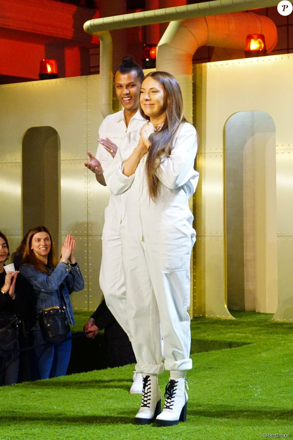 Le chanteur Stromae et Coralie Barbier présentent la 5 ème collection de vêtements de leur marque Moseart au Bon Marché, Paris le 6 avril 2018.