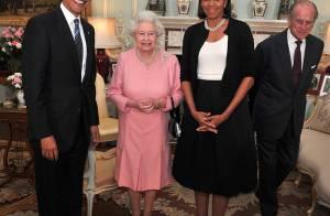 Le couple Obama rencontre la Reine Elizabeth II et son mari... C'est quoi cette tenue Michelle ? !
