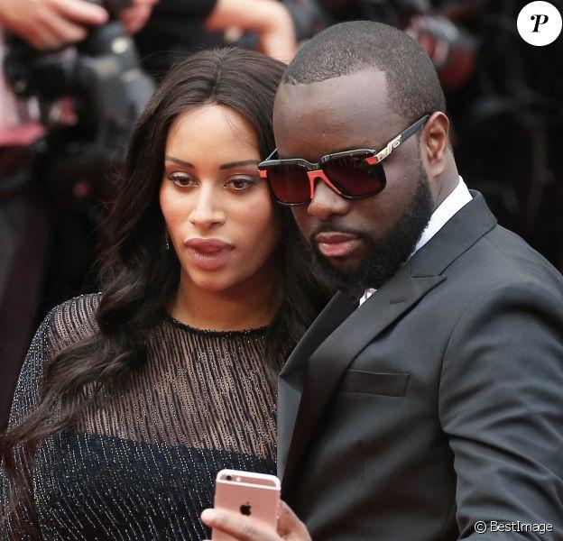 """Maître Gims et sa femme DemDem - Montée des marches du film """"The BFG"""" (""""Le BGG Le Bon Gros Géant"""") lors du 69ème Festival International du Film de Cannes. Le 14 mai 2016."""