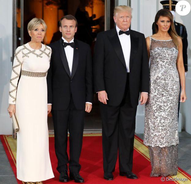 Le président américain Donald Trump, sa femme la première dame Melania Trump, le président de la République française Emmanuel Macron et sa femme la première dame Brigitte Macron - Dîner en l'honneur du Président de la République Emmanuel Macron et de la première dame Brigitte Macron (Trogneux) à la Maison Blanche à Washington, le 24 avril 2018