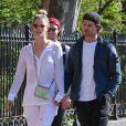 """Nina Agdal et son compagnon Jack Brinkley-Cook sont allés déjeuner au restaurant """"Bar Pitti"""" dans le quartier de West Village à New York, le 26 avril 2018"""