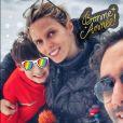 Sylvie Tellier sans maquillage avec ses enfants Oscar (7 ans) et Margaux (3 ans) ainsi que son mari Laurent à Avoriaz, une station de ski située en Haute-Savoie, pour célébrer la nouvelle année.