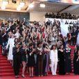 """Cate Blanchett et les 82 femmes représentant les 82 femmes réalisatrices ayant été sélectionnées au festival de Cannes depuis sa première édition en 1947, dont Clotilde Courau, Leïla Bekhti, Clémence Poesy, Sofia Boutella, Salma Hayek, Claudia Cardinale, Cécile Cassel, Anna Mouglalis, Alba Rohrwacher, Lolita Chammah, Melita Toscan du Plantier, Tonie Marshall, Ava Duvernay, Khadja Nin, Léa Seydoux, Kristen Stewart - Montée des marches du film """" Les Filles du Soleil """" lors du 71ème Festival International du Film de Cannes. Le 12 mai 2018 © Borde-Jacovides-Moreau/Bestimage"""