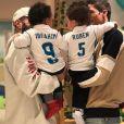Karim Benzema et Raphaël Varane posent avec leurs fils, qui portent des maillots du Real Madrid. Instagram, le 16 mars 2018.