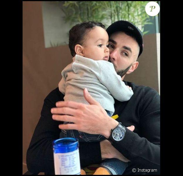 Karim Benzema pose avec son fils Ibrahim sur Instagram le 6 févroer 2018.