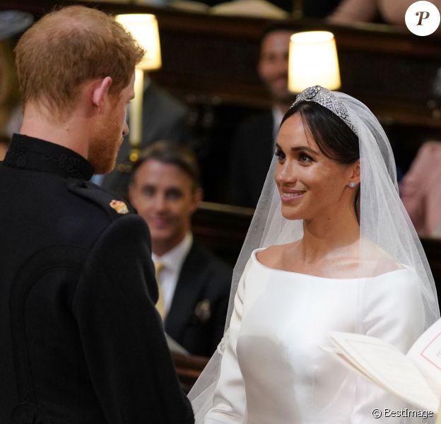 Meghan Markle et le prince Harry, duchesse et duc de Sussex, lors de leur mariage le 19 mai 2018 à Windsor, en la chapelle St George.