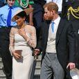 La duchesse Meghan de Sussex (Meghan Markle), vêtue d'une robe Goat, et le prince Harry prenaient part le 22 mai 2018 à une garden party organisée dans les jardins de Buckingham Palace dans le cadre des célébrations du 70e anniversaire du prince Charles. A cinq mois de la date (14 novembre 2018), le rassemblement honorait ses patronages, associations et rôles militaires.