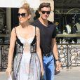 Céline Dion et son danseur Pepe Munoz sont allés faire du shopping à la boutique Schiaparelli à Paris, le 1er août 2017