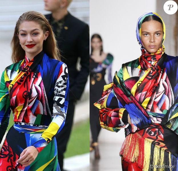 Gigi Hadid, habillée d'une tenue Versace (collection prêt-à-porter automne-hiver 2018-2019), assiste aux CFDA Awards 2018. New York, le 4 juin 2018.