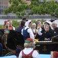 La princesse Victoria, la princesse Estelle, la reine Silvia, le roi Carl Gustav de Suède - La famille royale de Suède assiste à la fête nationale dans les jardins du musée Skansen à Stockholm le 6 juin 2018.  Sweden's National Day celebrations at Skansen, Stockholm, Sweden 2018-06-0606/06/2018 - Stockholm