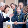 Le roi Carl XVI Gustaf et la reine Silvia de Suède ont lancé la journée portes ouvertes au palais royal Drottningholm à Stockholm au matin de la Fête nationale le 6 juin 2018.