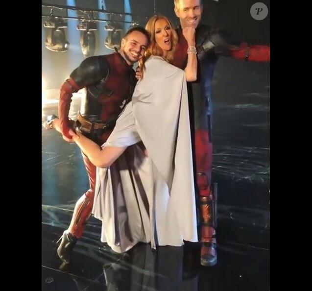 Yanis Marshall, Céline Dion et Ryan Reynolds sur le tournage de Ashes pour Deadpool 2. Instagram, 2018