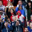 Alain Griezmann, Maud Griezmann, Isabelle Matuidi, ses enfants, Eden, Myliane et Naëlle lors du match de coupe du monde opposant la France au Pérou au stade Ekaterinburg à Yekaterinburg, Russie, le 21 juin 2018. La France a gagné 1-0. © Cyril Moreau/Bestimage