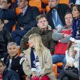 Nagui, sa femme Mélanie Page, Claude Deschamps, Leïla Kaddour-Boudadi lors du match de coupe du monde opposant la France au Pérou au stade Ekaterinburg à Yekaterinburg, Russie, le 21 juin 2018. La France a gagné 1-0. © Cyril Moreau/Bestimage