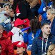 Isabelle Matuidi avec ses enfants, Eden, Myliane et Naëlle lors du match de coupe du monde opposant la France au Pérou au stade Ekaterinburg à Yekaterinburg, Russie, le 21 juin 2018. La France a gagné 1-0. © Cyril Moreau/Bestimage