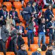 Nagui, sa femme Mélanie Page, Leïla Kaddour-Boudadi, Bruno Solo et Jean Roch lors du match de coupe du monde opposant la France au Pérou au stade Ekaterinburg à Yekaterinburg, Russie, le 21 juin 2018. La France a gagné 1-0. © Cyril Moreau/Bestimage