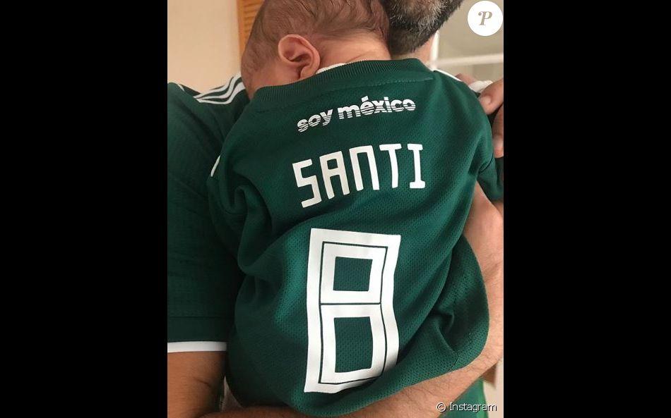 Eva Longoria a partagé cette photo de son fils Santiago, pour la Coupe du monde, sur Instagram, le 23 juin 2018