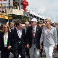 Laura Tenoudji, son mari Christian Estrosi (le maire de Nice et vice-président du Conseil Régional de PACA), le prince Albert II de Monaco et la princesse Charlène de Monaco durant le Grand Prix de France au Castellet le 24 juin 2018. C. Estrosi, le maire de Nice et le vice-président du Conseil Regional de PACA, est à l'origine du retour du Grand Prix de France au Circuit Paul Ricard. C'est L. Hamilton qui a remporté le Grand Prix devant M. Verstappen, second, et K. Raikkonen troisième. © Bruno Bebert / Bestimage