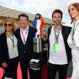 Laura Tenoudji, son mari Christian Estrosi (le maire de Nice et vice-président du Conseil Régional de PACA), Richard Orlinski et Miss France 2018, Maëva Coucke durant le Grand Prix de France au Castellet le 24 juin 2018. C. Estrosi, le maire de Nice et le vice-président du Conseil Regional de PACA, est à l'origine du retour du Grand Prix de France au Circuit Paul Ricard. C'est L. Hamilton qui a remporté le Grand Prix devant M. Verstappen, second, et K. Raikkonen troisième. © Bruno Bebert / Bestimage