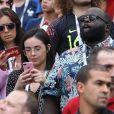 Agathe Auproux et Issa Doumbia - Célébrités dans les tribunes lors du match de coupe du monde opposant la France au Danemark au stade Loujniki à Moscou, Russia, le 26 juin 2018. Le match s'est terminé par un match nul 0-0. © Cyril Moreau/Bestimage