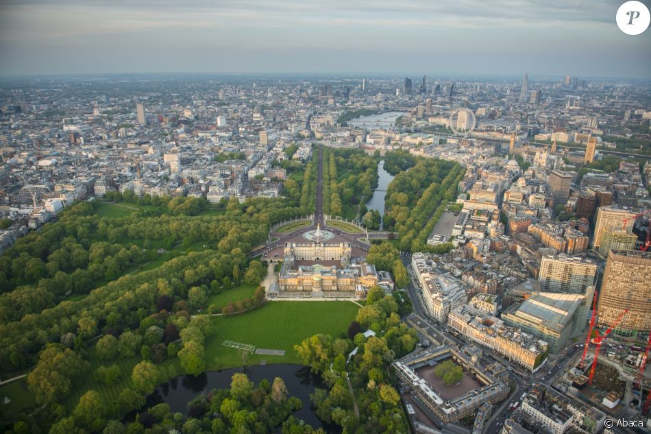 Vue aérienne du palais de Buckingham, à Londres.