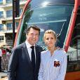 Exclusif - Christian Estrosi et sa femme Laura Tenoudji durant l'inauguration de la ligne 2 Ouest Est du tramway sur le tronçon aérien entre le CADAM et Magnan à Nice 30 juin 2018.