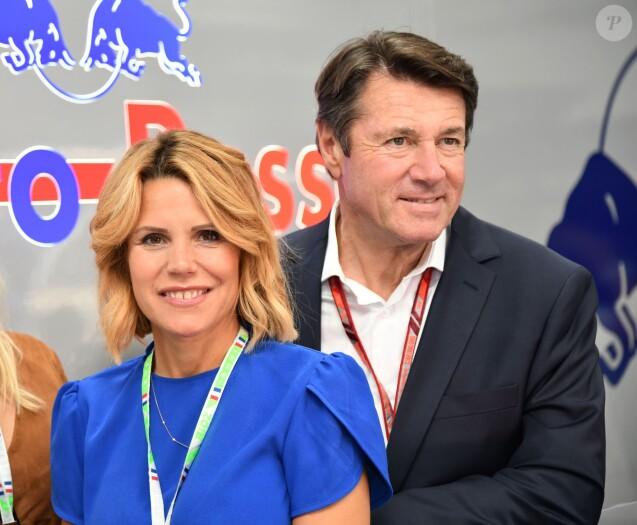 Christian Estrosi et sa femme Laura Tenoudji durant la journée d'essai du Grand Prix de France au Castellet le 23 juin 2018. © Bruno Bebert/Bestimage