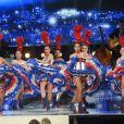 """Exclusif - Les danseuses du Moulin Rouge - Enregistrement de l'émission """"Bon anniversaire Line"""" à l'occasion des 90 ans de Line Renaud au Théâtre Bobino à Paris, le 25 juin 2018. L'émission, présentée par Stéphane Bern, est diffusée mardi 3 juillet 2018 à 20h55 sur France 2. © Coadic Guirec / Bestimage"""