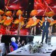 """Exclusif - Les danseuses du Moulin Rouge, Stéphane Bern, Line Renaud et Dany Boon - Enregistrement de l'émission """"Bon anniversaire Line"""" à l'occasion des 90 ans de Line Renaud au Théâtre Bobino à Paris, le 25 juin 2018. L'émission, présentée par Stéphane Bern, est diffusée mardi 3 juillet 2018 à 20h55 sur France 2. © Coadic Guirec / Bestimage"""