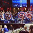 """Exclusif - Les danseuses du Moulin Rouge, Michel Chevalet, Michèle Laroque, Line Renaud, Slimane, Elodie Gossuin, Iris Mittenaere - Enregistrement de l'émission """"Bon anniversaire Line"""" à l'occasion des 90 ans de Line Renaud au Théâtre Bobino à Paris, le 25 juin 2018. L'émission, présentée par Stéphane Bern, est diffusée mardi 3 juillet 2018 à 20h55 sur France 2. © Coadic Guirec / Bestimage"""