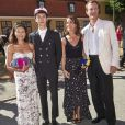 Le prince Nikolai de Danemark entouré de sa mère la comtesse Alexandra, sa belle-mère la princesse Marie et son père le prince Joachim lors de la cérémonie de remise de diplôme de son lycée privé, Herlufsholm à Naestved le 27 juin 2018.