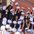 Le prince Nikolai de Danemark et ses camarades de promo, dont sa petite amie Benedikte qui était dans la même classe que lui, lors de la cérémonie de remise de diplôme de son lycée privé, Herlufsholm à Naestved le 27 juin 2018.