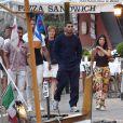 Exclusif - Kourtney Kardashian et son compagnon Younes Bendjima ont été aperçus en train de prendre du bon temps sur le port de Portofino en Italie, le 3 juillet 2018.