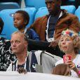 Frédéric Pavard (père de B.Pavard), Nathalie Pavard (mère de B.Pavard) et Rachel Legrain-Trapani (Miss France 2007 et compagne de B.Pavard) - Célébrités dans les tribunes lors de la demi-finale de la coupe du monde opposant la France à la Belgique à Saint-Pétersbourg le 10 juillet 2018 © Cyril Moreau/Bestimage