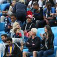 Camille Tytgat (femme de R.Varane), son fils Ruben, Jennifer Giroud (femme d'O.Giroud) et le père d'O.Giroud - Célébrités dans les tribunes lors de la demi-finale de la coupe du monde opposant la France à la Belgique à Saint-Pétersbourg, Russie, le 10 juillet 2018. © Cyril Moreau/Bestimage