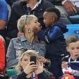 Isabelle Matuidi (femme de B.Matuidi) et son fils Eden - Célébrités dans les tribunes lors de la demi-finale de la coupe du monde opposant la France à la Belgique à Saint-Pétersbourg, ussie, le 10 juillet 2018. La France a gagné 1-0. © Cyril Moreau/Bestimage