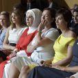 Amelie Derbaudrenghien (compagne du premier ministre belge C.Michel), la Première Dame Melania Trump et la Première Dame Brigitte Macron (Trogneux) - Visite des conjoints des chefs d'État et de gouvernement de la Chapelle musicale Reine Élisabeth à Waterloo dans le Brabant Wallon lors du sommet de l'OTAN en Belgique, le 11 juillet 2018.