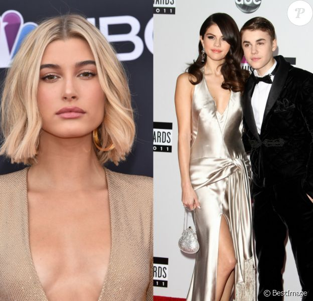 Hailey Baldwin (mai 2018), Justin Bieber et Selena Gomez (en 2011).