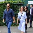 Pippa Middleton (enceinte) et son frère James Middleton à leur arrivée au tournoi de tennis de Wimbledon à Londres. Le 11 juillet 2018
