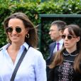 Pippa Middleton (enceinte) (robe Ralph Lauren) à son arrivée au tournoi de tennis de Wimbledon à Londres. Le 11 juillet 2018