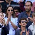 Pippa Middleton et son frère James à Wimbledon le 11 juillet 2018 lors de la défaite de Roger Federer.